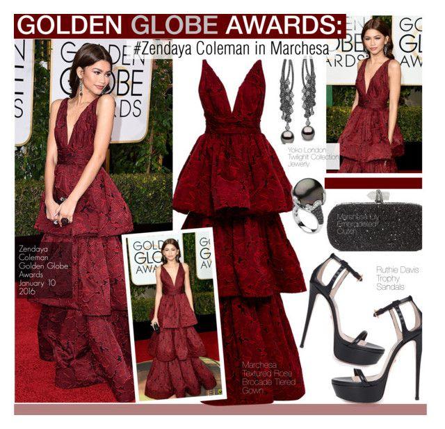 """Golden Globe Awards 2016--Zendaya Coleman in Marchesa"" by kusja ❤ liked on Polyvore featuring Marchesa, Ruthie Davis, Yoko London, RedCarpet, GoldenGlobes, Stealherstyle, zendaya and celebstyle"