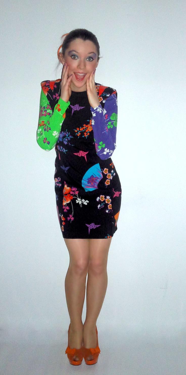 Versace for H floral print dress, tangerine pumps