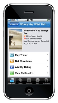 FLIXSTER ~ Movie app that allows you to watch trailers, see what movies are out or coming out in theater and on DVD, get local movie showtime, read movie reviews and much more.