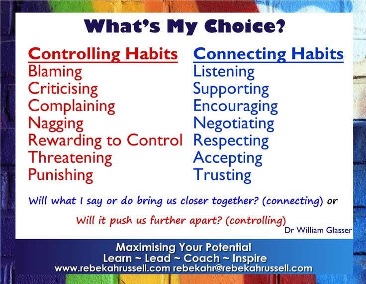 Controlling and Connecting Habits - we choose our own behavior - when we try to control others it weakens relationships - yay caring & connecting habits