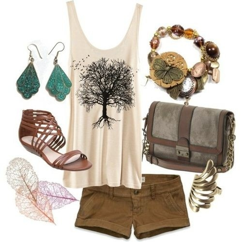 Great earthy outfit for the summer - I would add more color, but I love the tree and leaves