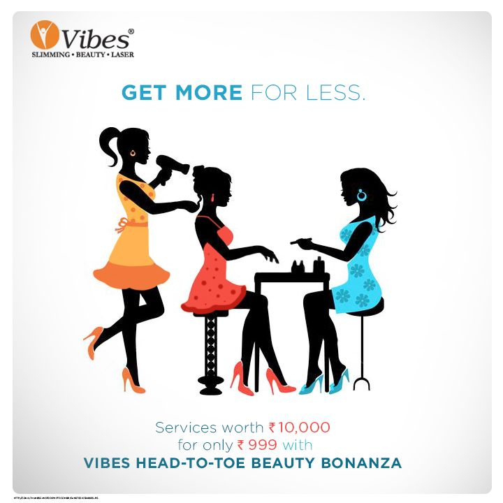 Avail services worth Rs 10,000 with a payment of only Rs 999. Sign up for the exclusive #Vibes Head-to-Toe #Beauty #Bonanza today. #Salon #Offer #Discount #Voucher