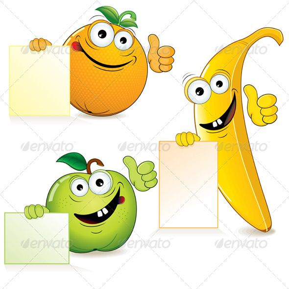 Funny Fruits #GraphicRiver Funny Cartoon Fruits with Blank Sign. - vector illustration, only simply linear and radial gradients used - vector objects separated and grouped - no blends, gradient mesh used - vector available CMYK colors and ready for print - pack include version AI, CDR , EPS, JPG Keywords: ad, art, artwork, blank, bright, children, clip, color, drawing, eat, face, happy, illustration, image, leaf, lifestyle, message, plant, sign, vectors Created: 20March12…