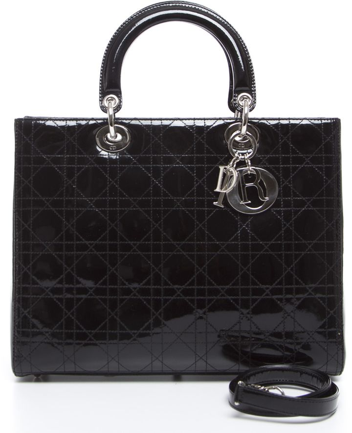 Christian Dior Black Patent Large Lady Dior Bag