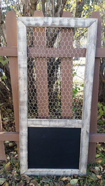 Distressed Painted Wood Chicken Wire Frame with Vinyl Chalkboard