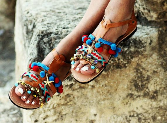 "Spartan Greek Leather sandals with pom pom, semi-precious stones and Swarovski crystals ""Maude"" (handmade to order)"