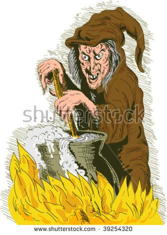 hand drawn illustration of a Witch stirring cooking brew pot  #witch #sketch #illustration