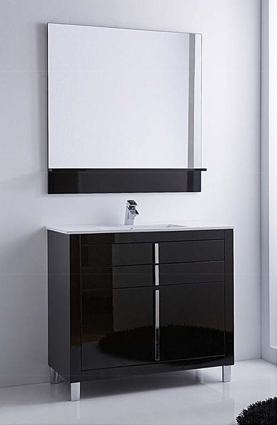 Hispania Home Roma Single Sink Bathroom Vanity Set Base Finish Black