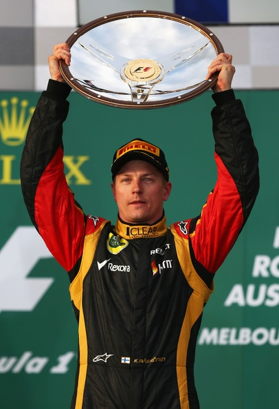 Kimi Raikkonen of Finland and Lotus celebrates on the podium after winning the Australian Formula One Grand Prix at the Albert Park Circuit on March 17, 2013 in Melbourne, Australia.
