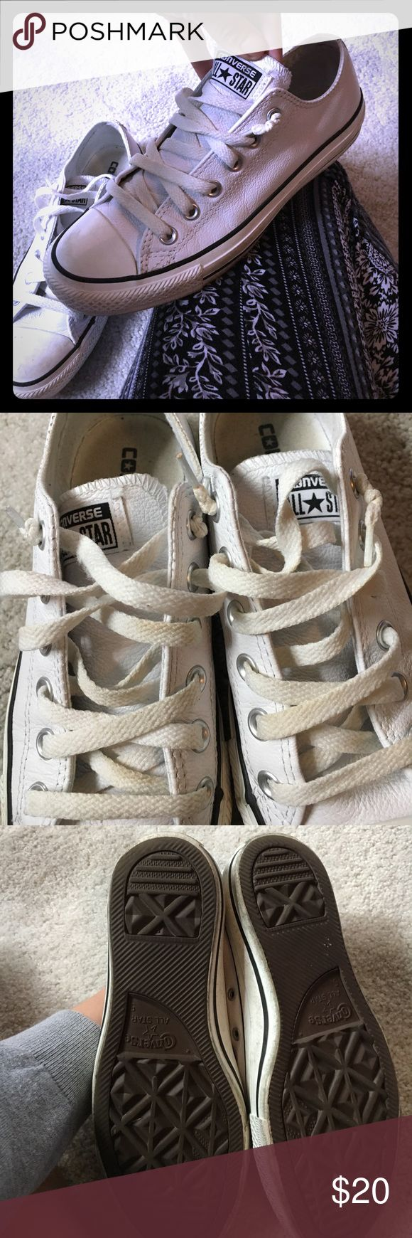 White leather Converse Sneakers White leather. Only blue stripe. No red. Easy to clean. Worn 5 times. Converse Shoes Sneakers