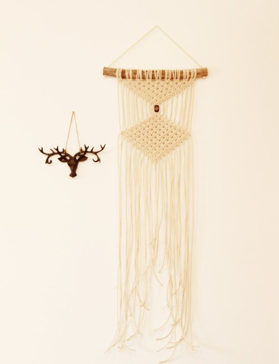 Macrame Wall Hanging. Cotton rope and Drift Wood by FALLandFOUND