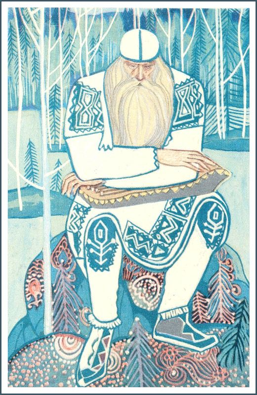 "Illustrations of ""The Kalewala"" by Tamara G. Yufa (honored artist of Russian Federation, honoured art worker of the Republic of Karelia). The Kalevala or Kalewala is a 19th-century work of epic poetry compiled by Elias Lönnrot from Karelian and Finnish oral folklore and mythology..."