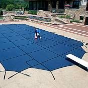 Our wide selection of all types of Swimming Pool Covers provides you with a multitude of options. We offer Winter Pool Covers, Solar Pool Covers that warm the pool during the day and help keep in the heat at night, and Safety Pool Covers - mesh and solid - that reduce accidents by securely covering the pool.