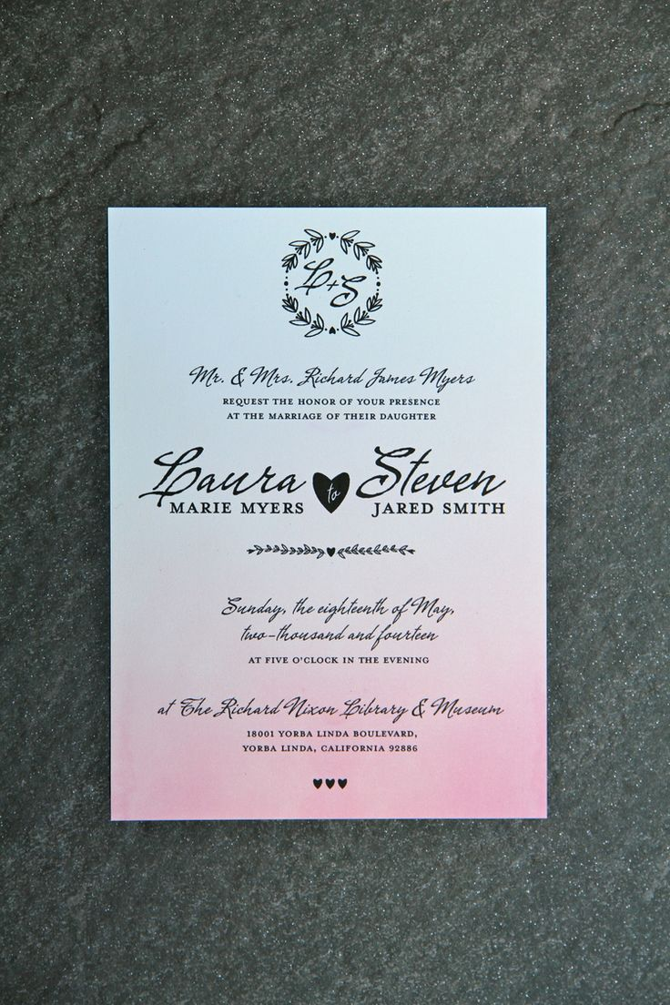 Blush Ombre Watercolor Wedding Invitation with RSVP