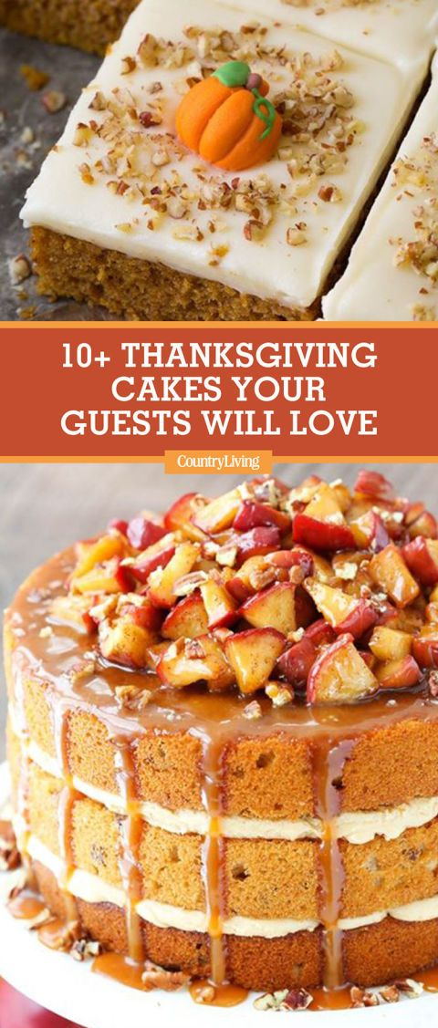 Save these Thanksgiving cake recipes for later by pinning this image, and follow Country Living on Pinterest for more holiday inspiration.