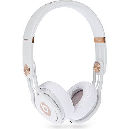 """beats wireless """"Mixr"""" white + rose gold on-ear headphones - perfect for the gym."""