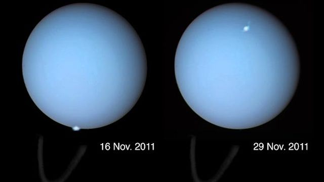 Auroras spotted on Uranus for the first time (maybe you shouldn't bend over every time there's a solar flare... HAH): Auroras Spotted, Science Stuffs, My Birthday, Auroral Storms, Hubble Space Telescope, Cosmic Light, Nerdy Science