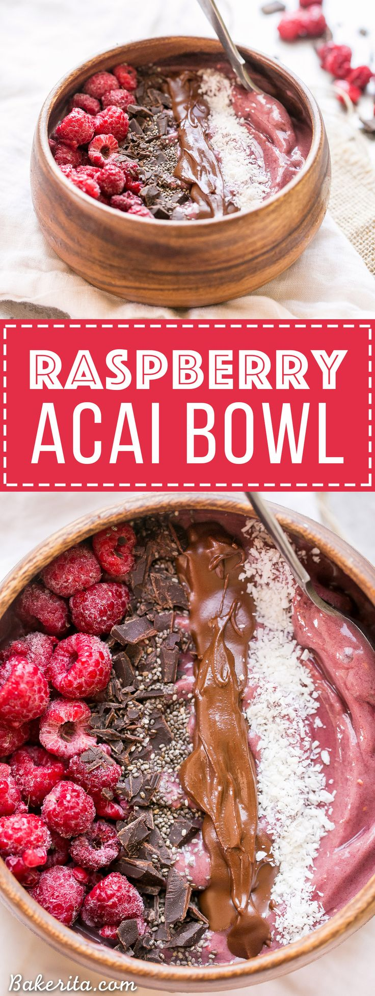 This Raspberry Acai Bowl is a refreshing & delicious breakfast, especially when you add your favorite toppings! This healthy breakfast is ready in a few minutes.