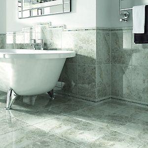 Wickes Cappuccino Light Grey Gloss Ceramic Wall & Floor Tile 360x280mm