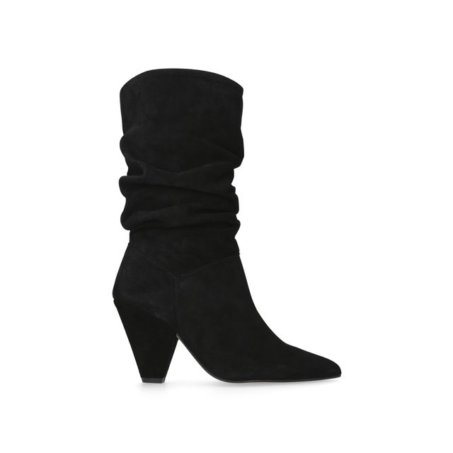 Add a relaxed finish to all your go-to seasonal looks with the versatile styling of Carvela Kurt Geiger's new Scrunch boot. Crafted in super-supple black suede, this elegant design features a sculpted 90mm cone heel to tap into current trends and a streamlined pointed toe, which are each offset by the slouchy, relaxed gathering of the shaft. Sitting at around mid calf height, this is the perfect transitional boot to carry you between the seasons in sleek style. Use them to add a laid-back...