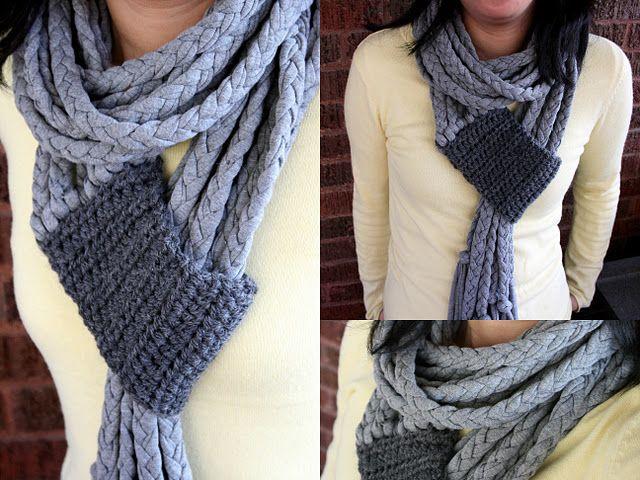 Crochet and Braid T-shirt Scarf