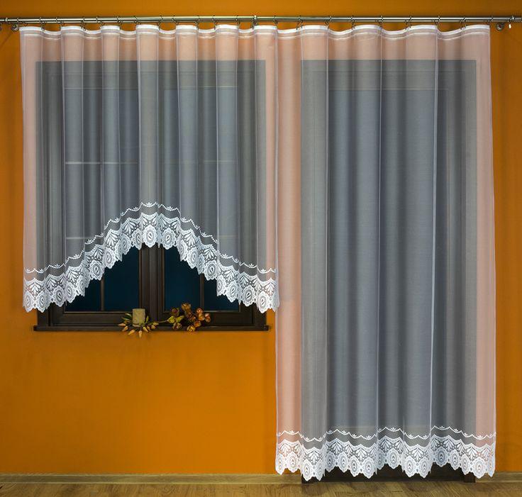 Komplet balkonowy żakardowy - 017349 kol. biały - 160x500cm (160x300cm+250x200cm)