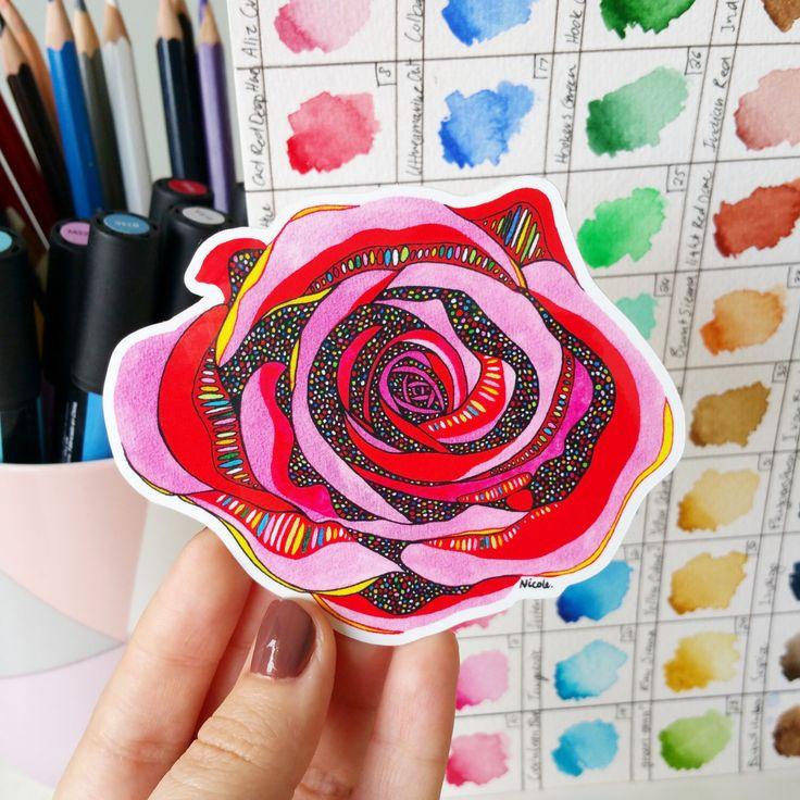 Rose - Vinyl Sticker Waterproof Sticker Flower Laptop Planner Sticker Skateboard Decal by NicoleStefanieDesign on Etsy https://www.etsy.com/listing/492488811/rose-vinyl-sticker-waterproof-sticker