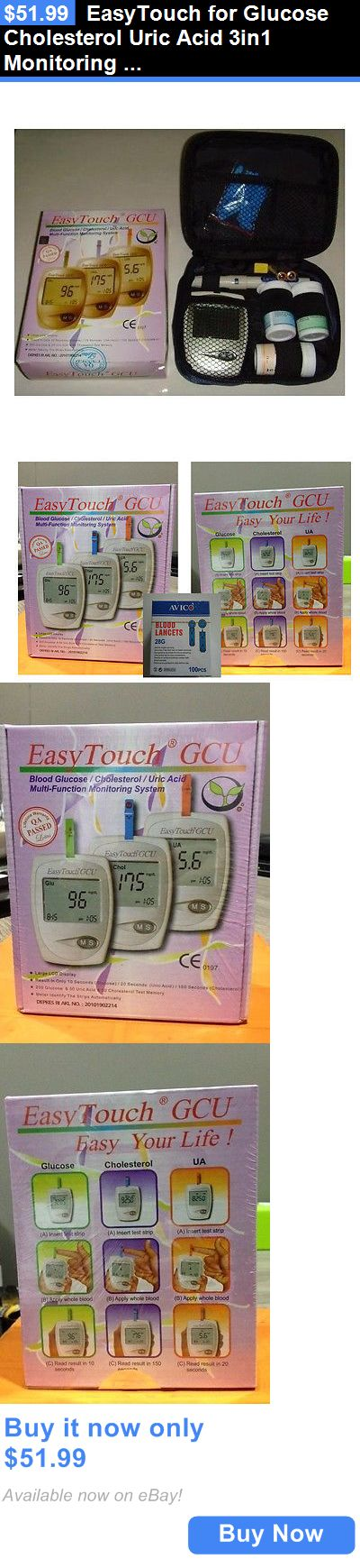 Cholesterol Testing: Easytouch For Glucose Cholesterol Uric Acid 3In1 Monitoring System +Free Lancets BUY IT NOW ONLY: $51.99