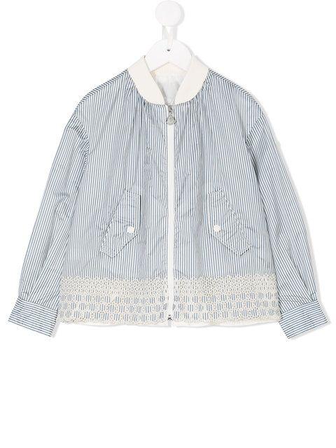 341108cbf889 Shop Moncler Kids striped bomber-style jacket