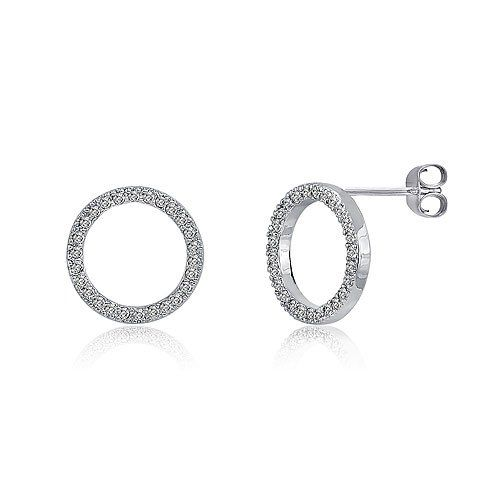 Berricle Sterling Silver Open Circle Stud Post Earrings
