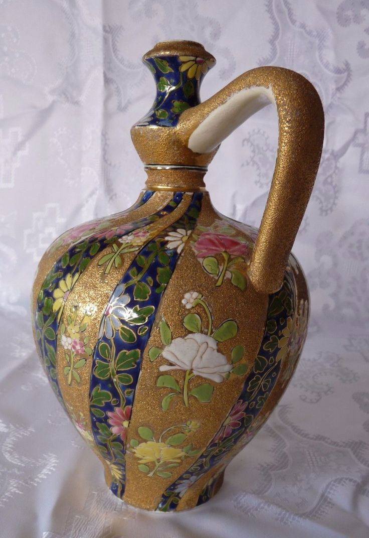 FISCHER J BUDAPEST Unique ANTIQUE Hungarian HANDLED POTTERY JUG
