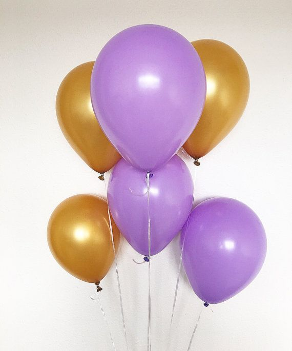 Purole and Gold Latex Balloons Purple Balloons by OhhHowCharming