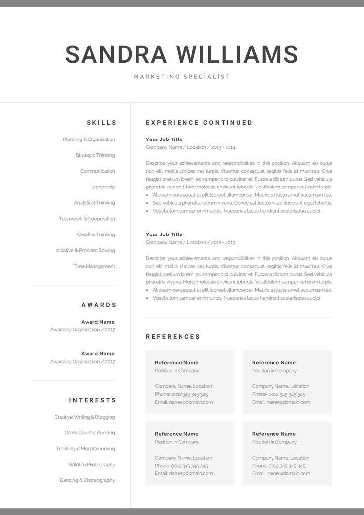 Professional resume template for word modern marketing cv