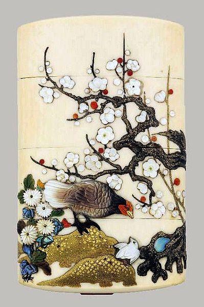 A three case Shibayama ivory Inro.j