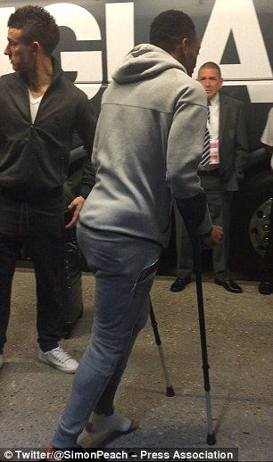 Antony Martial left Wembey on crutches on Tuesday after France were beaten 2-0 by England ...