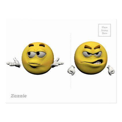 Yellow angry emoticon or smiley postcard - diy cyo customize create your own personalize