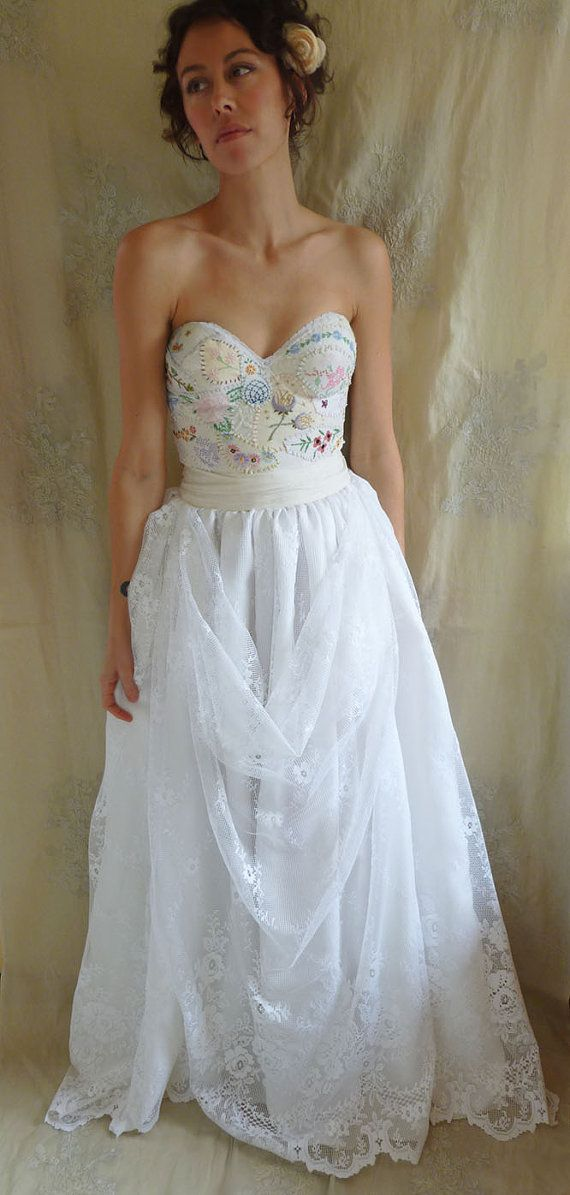 meadow bustier wedding gown dress boho whimsical woodland country vintage inspired embroidery free