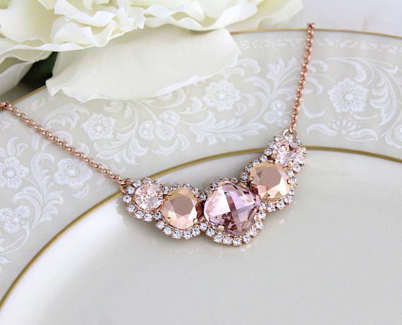Rose Gold Necklace Bridal Blush Crystal Jewelry Wedding Bridesmaid Statement