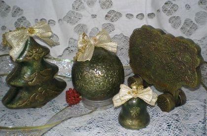 """Новогодний набор игрушек 4 предмета """"Величественная старина"""" - шар музыкальный"""