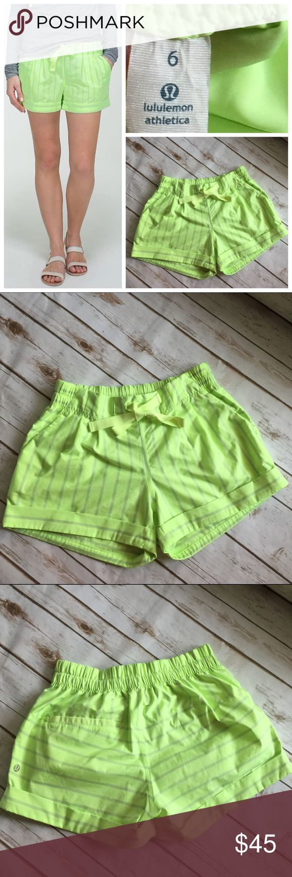 Lululemon RARE neon green spring break away shorts Excellent used condition with a small unnoticeable flaw, a speck by the left edge, see last photo. It can possibly be treated to come out, hence the lower price. 🚫 No Trades  🚫 No Holds 🚫 No Price Comments 👍🏻 Yes Offers 🚭 Smoke Free Home 📦 Next Day Shipping ❤️ Like for Updates 🕉 Namaste 🙏 lululemon athletica Shorts Cargos