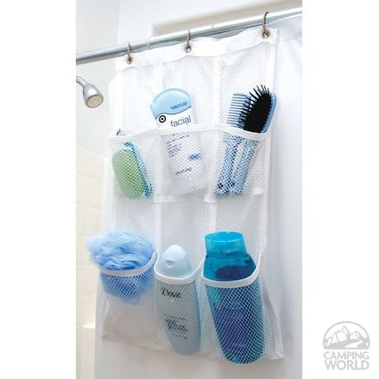 A shower pocket organizer on the back of your curtain eliminates the need for a caddy on the shower head and can be thrown in the laundry to wash.