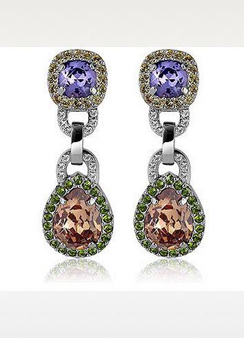 Boucles d'oreilles clips en cristaux Swarovski orange & violet  - AZ Collection