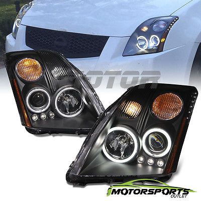 [CCFL Halo] For 2007 2008 2009 2010 Nissan Sentra Black LED Projector Headlights