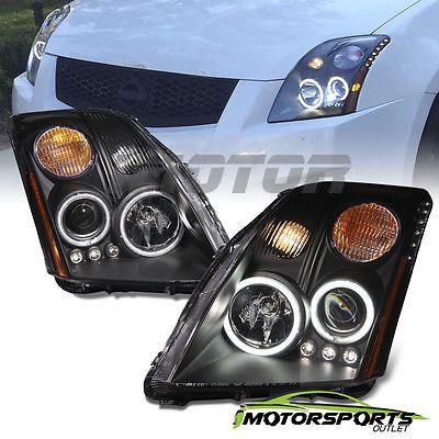 [CCFL Halo] For 2007 2008 2009 2010 Nissan Sentra Black LED Projector Headlights