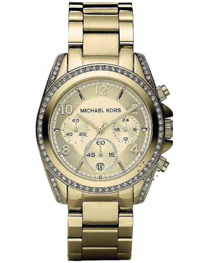 Michael KORS Ladies Crystal Chrono Gold Stainless Steel Bracelet