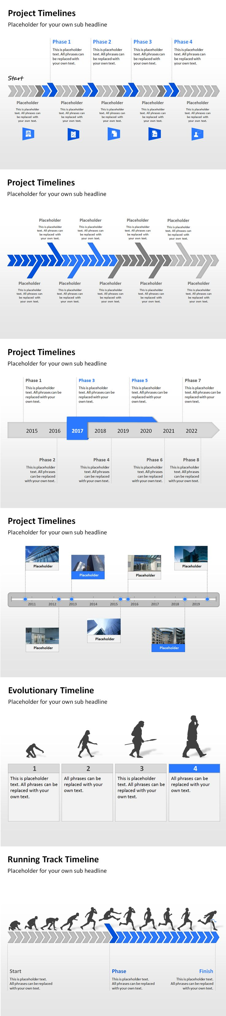 Project timeline templates to display planning, operation and development steps in a PowerPoint presentation