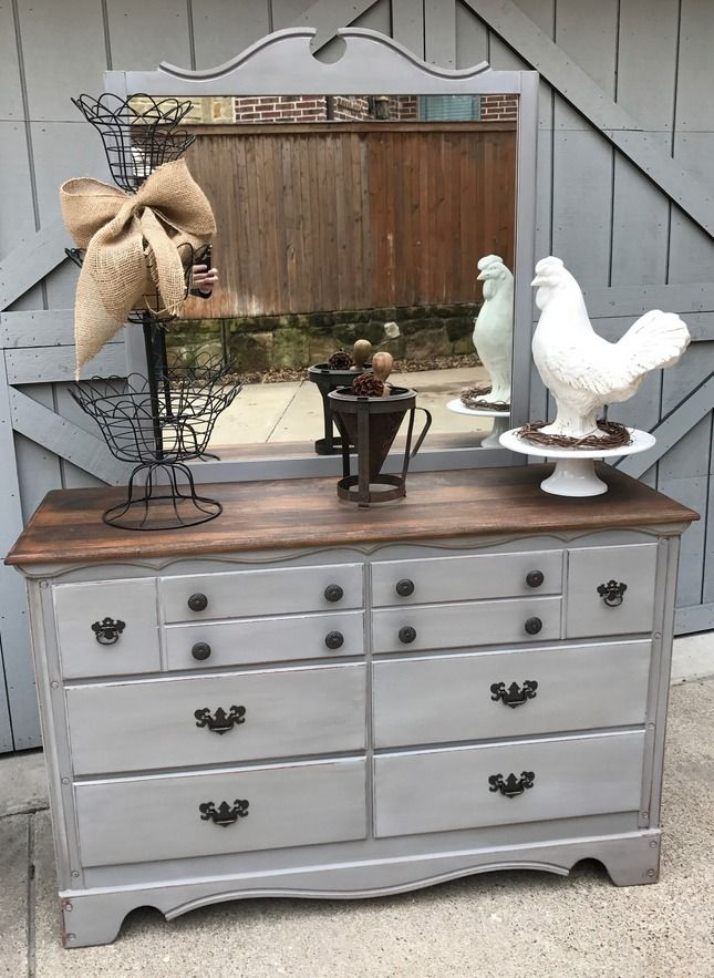Vintage Maple Dresser with Mirror, Upcycled