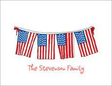 US Flag Banner Foldover Note Cards