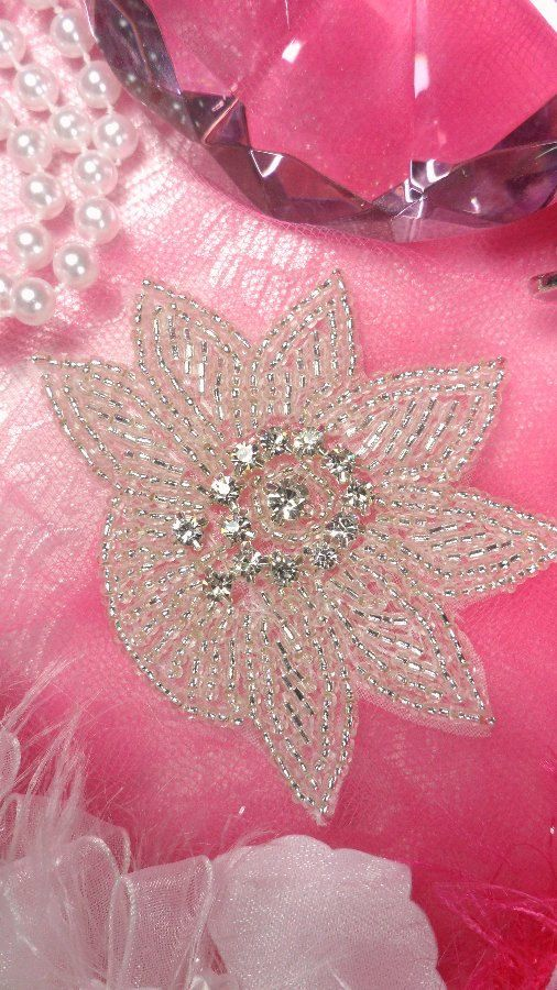"JB110 Crystal Rhinestone Applique Silver Beaded Floral 3"" (JB110-slcr) on Etsy, $5.99"