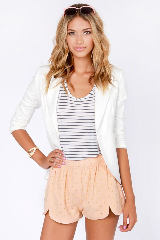 Goody Gold-Drops Studded Peach Shorts at LuLus.com! Adorrrrable outfit! Must have!!!